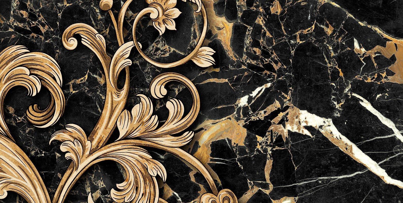 db23cbc6c4ce Декор Голден Тайл Saint Laurent Decor №3 black 300x600  цена, фото в ...